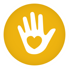 Helping hand icon with heart in center of hand
