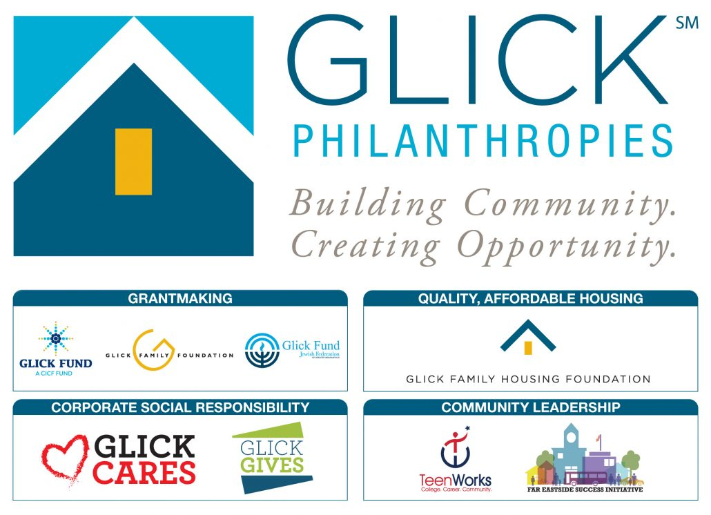 Glick Philanthropies family color infographic with logos